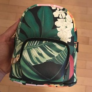 Zara Tropical Hawaiian Print Mini Leather Backpack